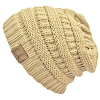 Beige Thick Slouchy Knit Oversized Beanie Cap Hat