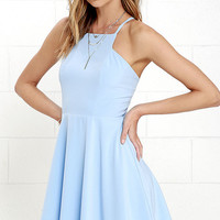 Call to Charms Light Blue Skater Dress