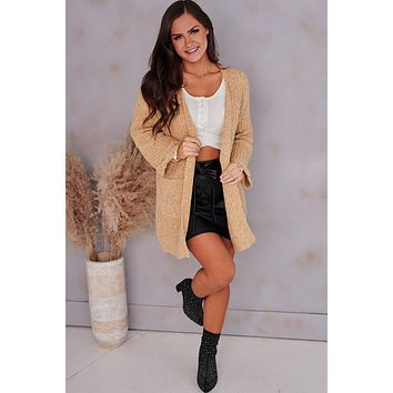More To Say Open Front Cardigan (Camel)