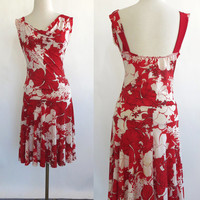 Red and White Floral vtg 70's DRESS  Preppy flouncy Flapper style