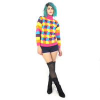 90s Rainbow Striped Sweater Heart Print Jumper Rave Colorful Long Sleeve Pink Turtleneck (XS/S)