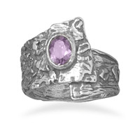 Oxidized Overlap Design Ring with Purple Cubic Zirconia