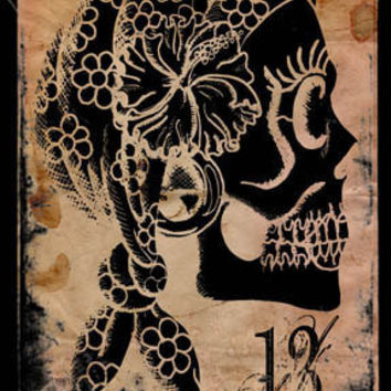 Thirteenth gypsy and other skulls 5x7 stretched canvas print (multi-listing)