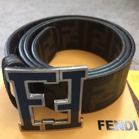 Fendi Men's Zucca Tobacco Brown Blue FF Logo Belt Buckle. Brand New w/receipt!