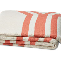 Serape Cotton-Blended Throw, Coral, Acrylic / Lucite, Throws