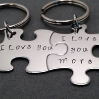 I love you, I love you more, Couples Keychains, Puzzle Piece Keychains, Couples Gift, Valentines Gift, Valentines Day