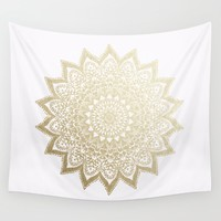 BOHO NIGHTS GOLD MANDALA Wall Tapestry by Nika