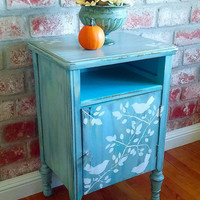 Turquoise blue locking cabinet, distressed cabinet, shabby chic cabinet, stenciled cabinet, locking cabinet, painted cabinet, nightstand