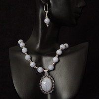 Blue Lace Agate and Sterling Silver Necklace and Leverback Earring Set