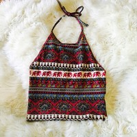 Urban Outfitters Elephant Halter Top Tribal Crop