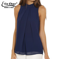 Chiffon Sleeveless Blouse  Women Tops Elia Cher Brand Plus Size Causal Blouses Chic Elegant Lady Shirts Summer Tops Blusas