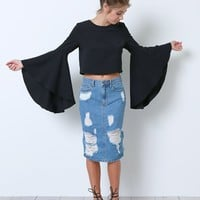 Deal With It Cropped Blouse - Black