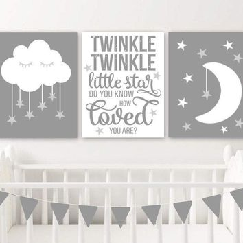 Moon Cloud Stars Nursery Decor Canvas or Print Twinkle Twinkle Little Star Wall ART, Gray Boy Quote Nursery Artwork Set of 3 Pictures