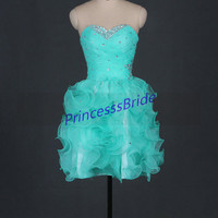 2014 short mint organza prom dresses with rhinestones,chic sweetheart gowns for cocktail party,cheap homecoming dress hot.