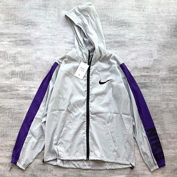 NIKE Popular Women Men Hoodie Zipper Cardigan Sweatshirt Jacket Coat Windbreaker Sportswear Grey Purple I-AA-XDD