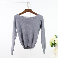 Spring Cashmere Short Knitted Tops Womens Long Sleeve Knitwear Female Fashion Crop Top Slash Neck Pullovers Lady Short Sweater