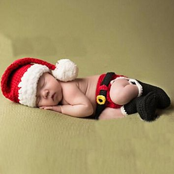 Baby born Photography Props Accessories Christmas Baby Crochet Knitted Santa Claus Hat Xmas Costume born