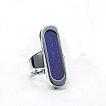 Sterling Silver and Lapis Lazuli Framed Long Bar Ring