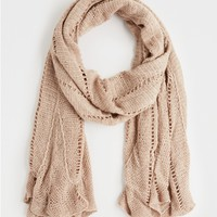 Taupe Scalloped Open Knit Scarf