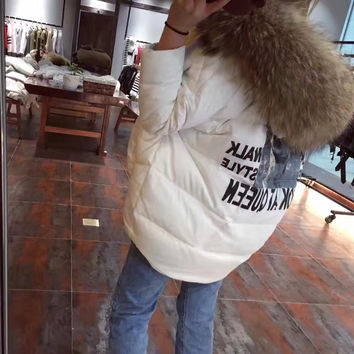 super big fur collar hood short white Down Coat Winter Jacket Womens Down Jackets Parka Coats With Real Natural Raccoon Fur hood