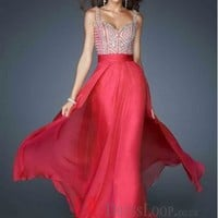 2014 New Styles Style A-Line Straps Chiffon Red Long Prom Dress/Evening Gowns With Rhinestone VTC002