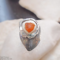 """Boulder Fire Opal Ring - Large Statement  -  Orange Sterling Silver - Abstract """" A Huge Heart """" OOAK - Ready to Ship"""