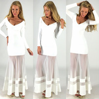 White V Neck Long Sleeve Overlay Mesh Maxi Dress