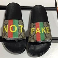 LV Louis vuitton G GG printed pattern letters men's and women's slippers shoes #2