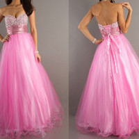 Pretty Ball Gown Sweetheart Neckline Floor Length Organza Graduation Dress
