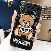 Moshino New fashion letter bear print protective cover phone case Black