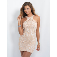 Sexy Champagne Prom Dresses Short Length Halter Neckline Beaded Pearls Backless Night Wear Antique Party Gown Open Back