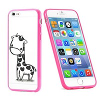 Popular Apple iPhone 6 or 6s Baby Giraffe Cute Gift for Teens TPU Bumper Case Cover Mobile Phone Accessories Hot Pink