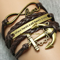 Infinityhope-motto-anchor bracelet charm bracelet brown braided leather bracelet fashion personalized gift jewelry