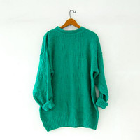 vintage green sweater. textured knit pullover. oversized sweater. long pullover sweater