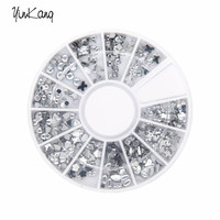 12 Different styles 12 colors Transparent Diamante Rhinestone Crystal Nail Art Decal Tips Glitters Stickers