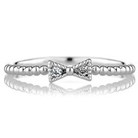 Elle's CZ Beaded Bow Charm Petite Stackable Ring Band