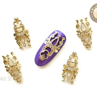 Gold Vintage Long Hollow Pattern Nail Metal Charm Nail Arts Decoration - 2 pcs