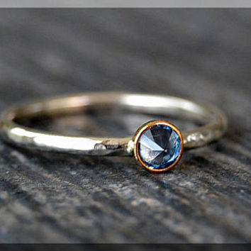 Sterling Silver Birthstone Ring, Choose Your Birthstone, Stacking Gemstone Ring, Layering Ring, Layering Mixed Metal Ring, Inverted Setting