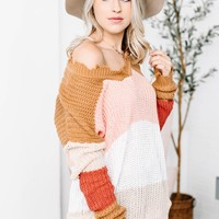Shark Bite Long Tan & Pink Color Block Sweater