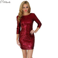 2017 New Style O Neck Long Sleeve paillette Sequins Backless Bodycon Slim Pencil Party Dresses