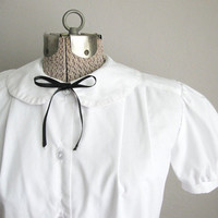 Vintage Peter Pan Blouse / Short Sleeve Blouse White / Puff Sleeve Womens Top