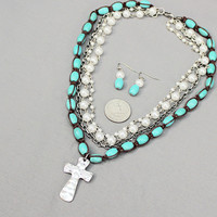 Cross Pendant Multi Bead Strand Necklace with Earrings