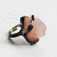 Romantic gift for her druzy raw rose quartz crystal stone ring, statement,  adjustable ring