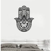 Vinyl Wall Decal Lotus Yoga Hamsa Amulet Buddhism Art Bedroom Stickers Unique Gift (ig3265)