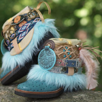 Vintage Blue Upcycled LUXURY Reworked Boho tribal COWBOY ankle BOOTS 7.5 38