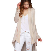 Beige Long Sleeve High Low Ruched Cardigan