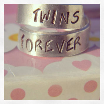 Twins forever  aluminum spiral  ring