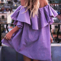 Hot style baggy plaid dress with ruffled ruffled collar