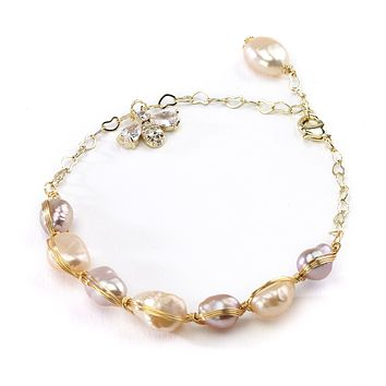Pearl Bracelet with Bee Charm