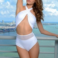 Del Mar Swim - Alayna Maillot One Piece in White | ShopMiamiStyle